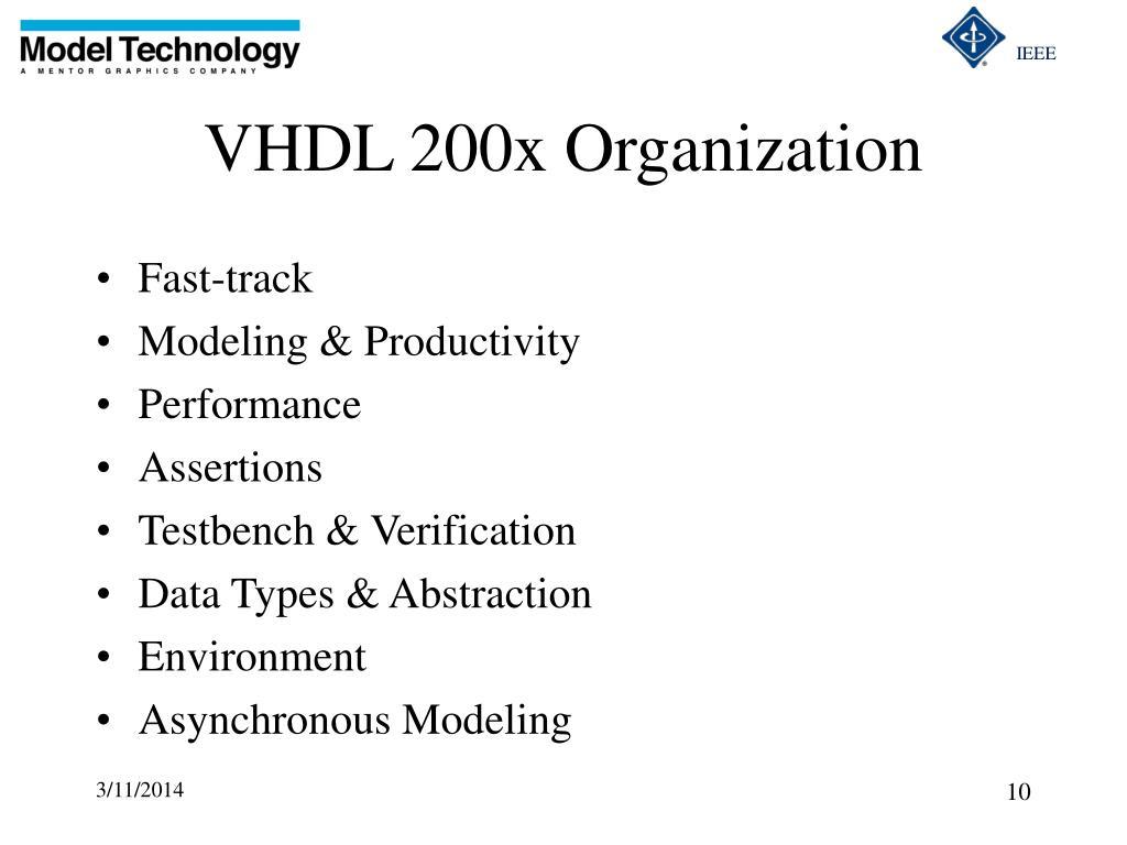 VHDL 200x Organization