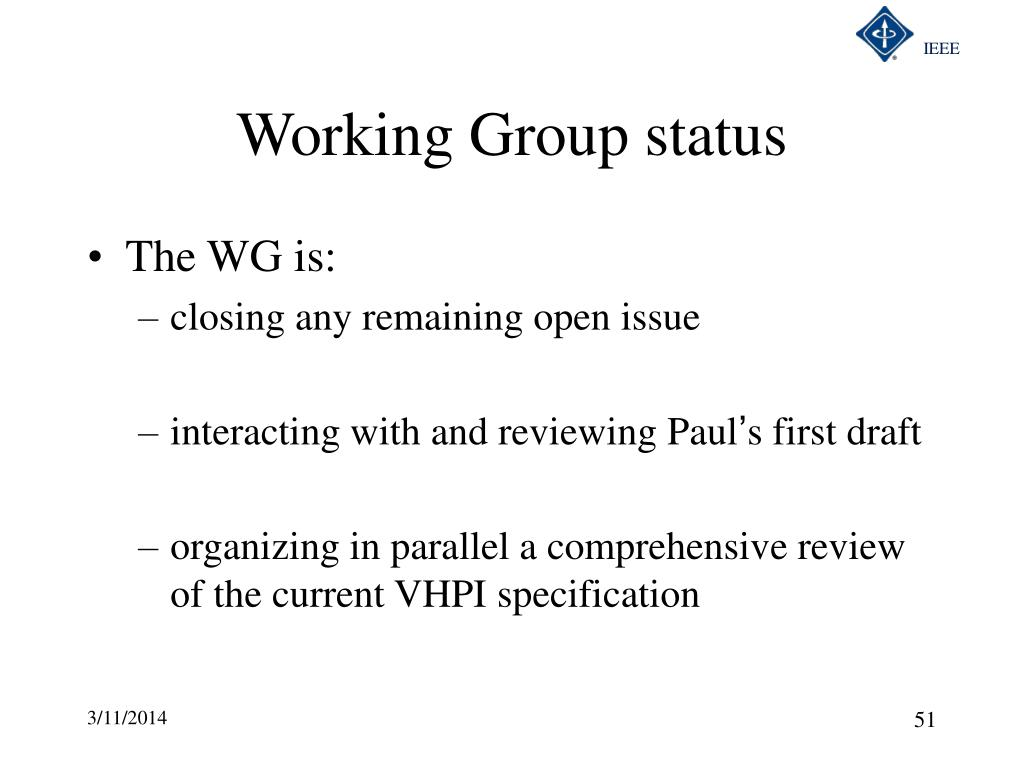 Working Group status