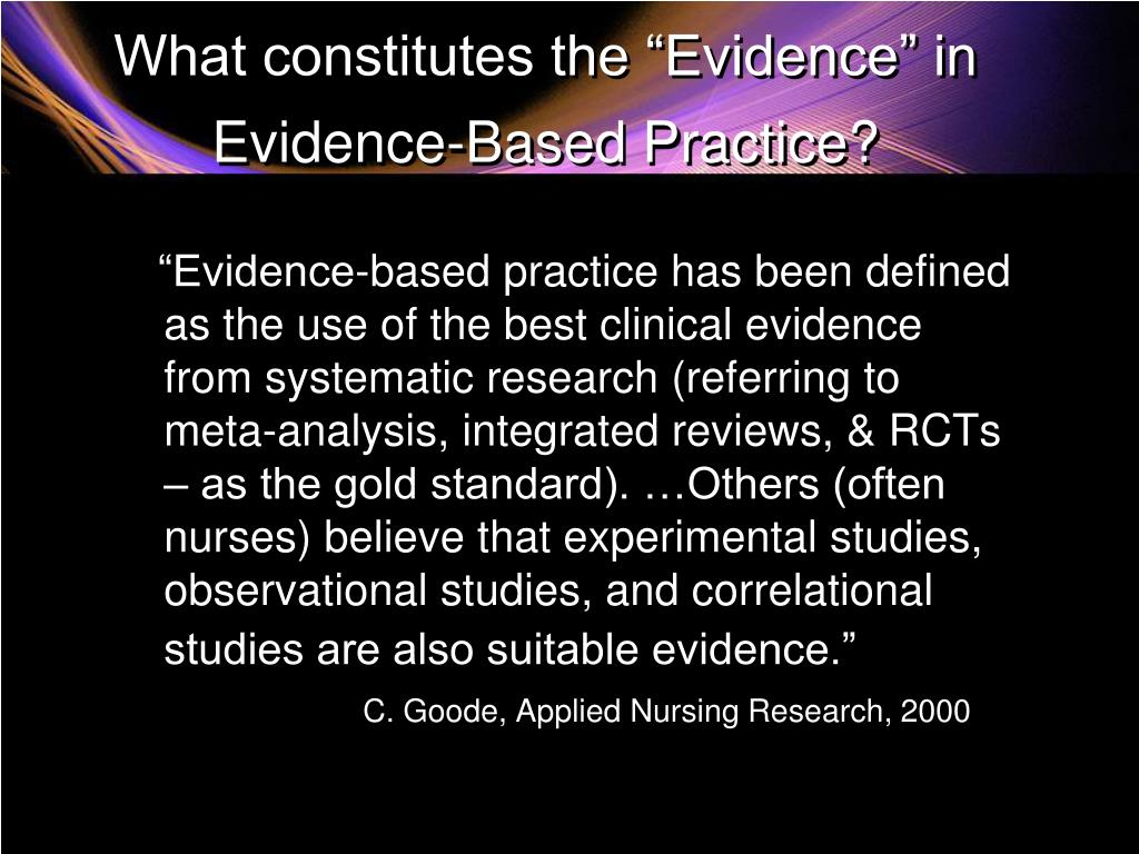 evidence based practice and applied nursing research Xap1: evidence based practice and applied nursing research evidence-based practice and applied nursing research evidence table a1 quantitative article: (indicate primary evidence chosen with an apa citation) background or introduction review of the literature discussion of methodology data analysis researcher's conclusion b1 qualitative article: (indicate primary evidence chosen with an apa.