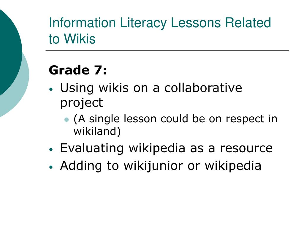 Information Literacy Lessons Related to Wikis