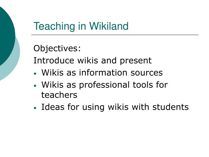 Teaching in wikiland2