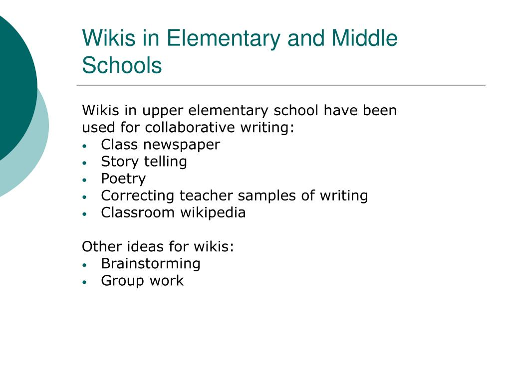 Wikis in Elementary and Middle Schools