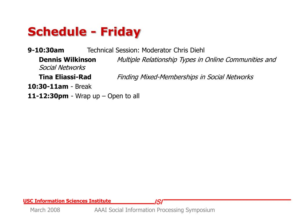 Schedule - Friday