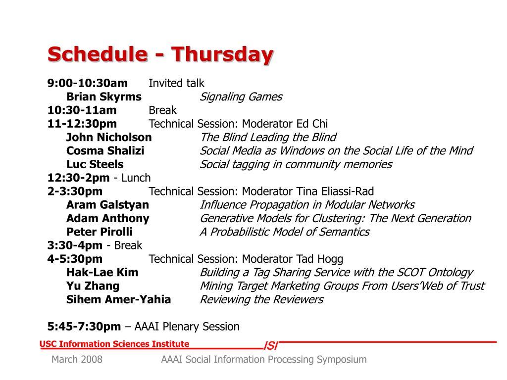 Schedule - Thursday