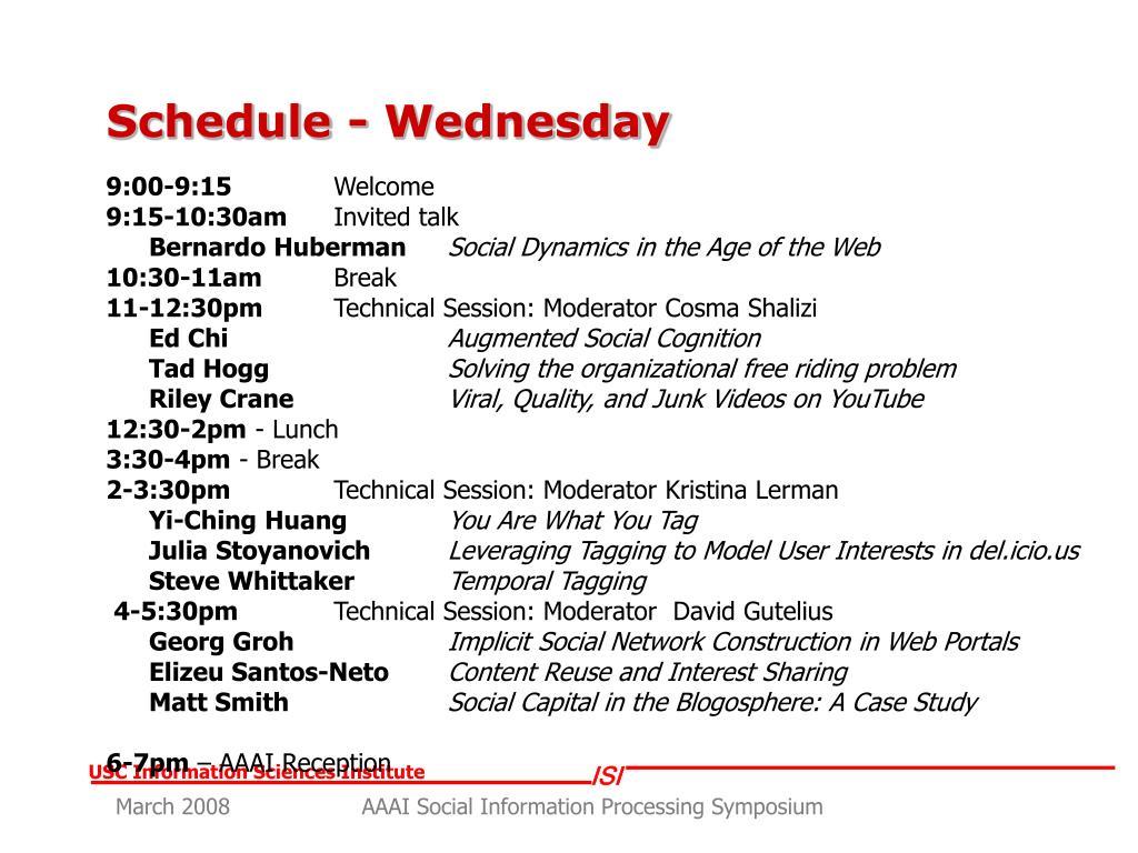 Schedule - Wednesday