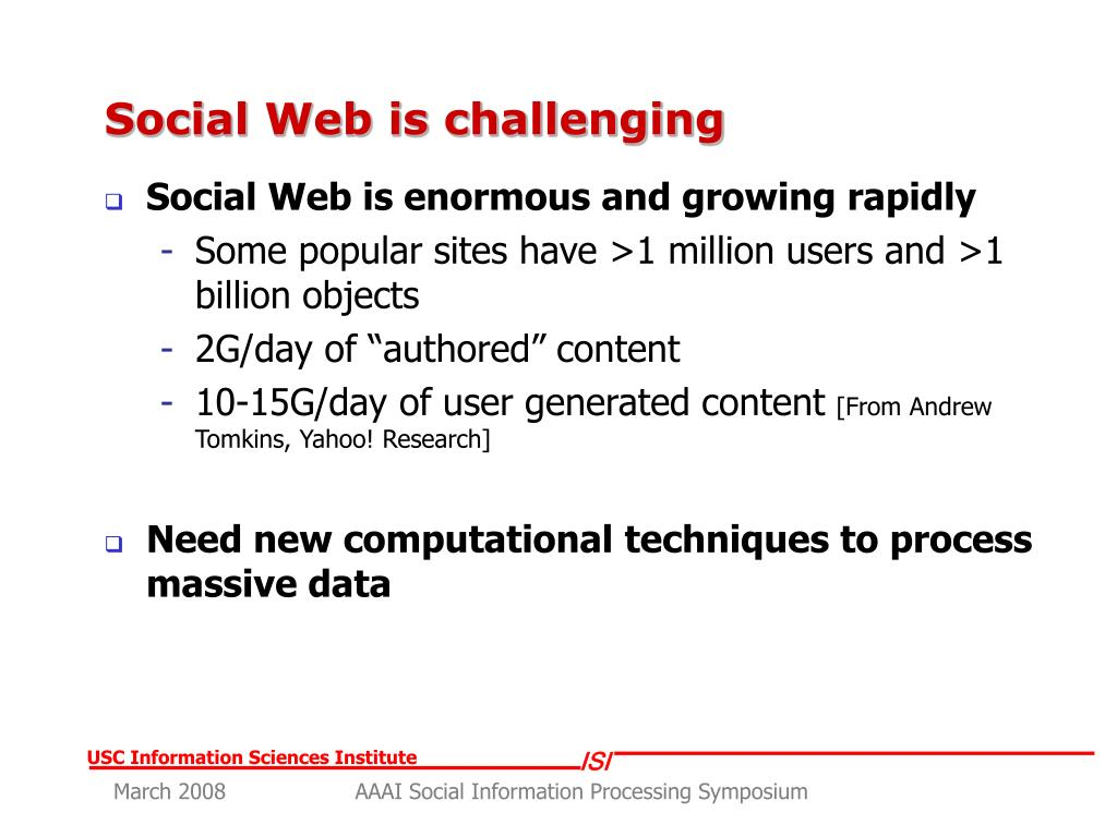 Social Web is challenging