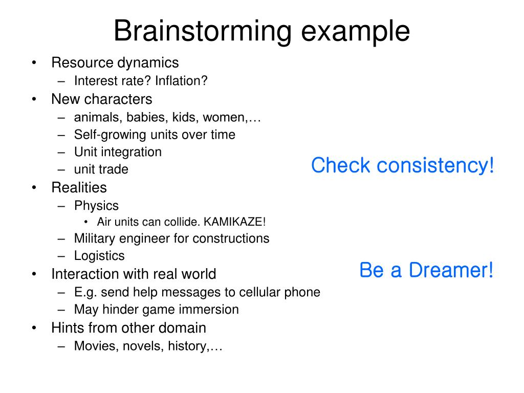 Brainstorming example