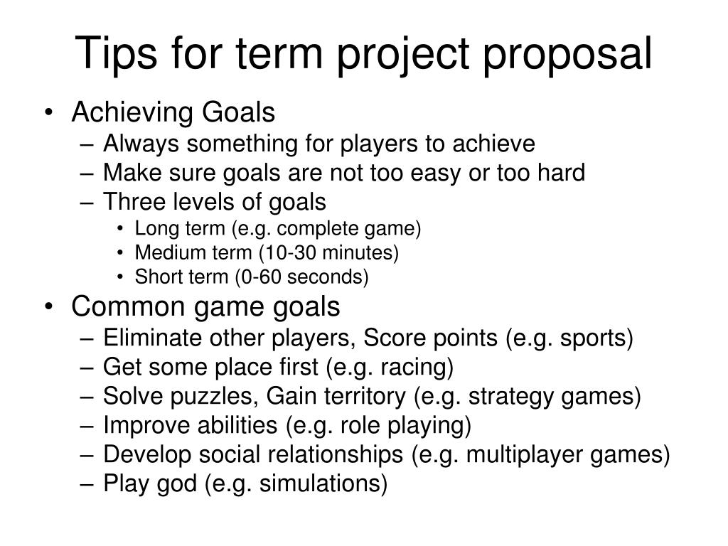 Tips for term project proposal