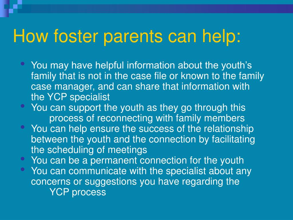 How foster parents can help: