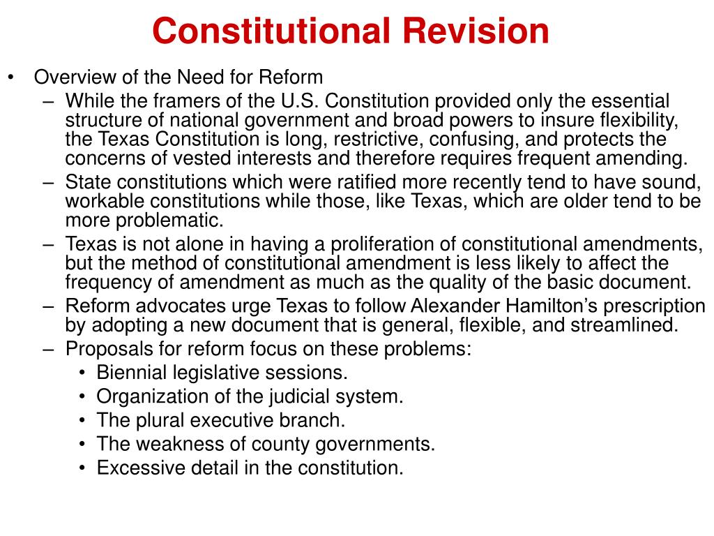 revision of constitution A constitution is a set of fundamental principles or established precedents according to which a state or other organization is governed these rules together make up, ie constitute, what the entity is.