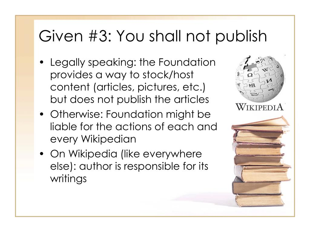 Given #3: You shall not publish