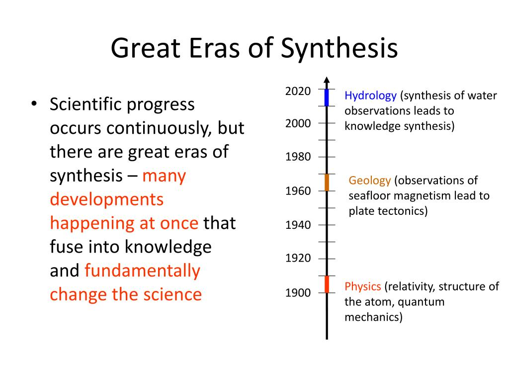 Scientific progress occurs continuously, but there are great eras of synthesis –