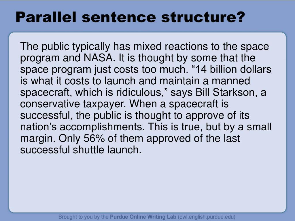 Parallel sentence structure?