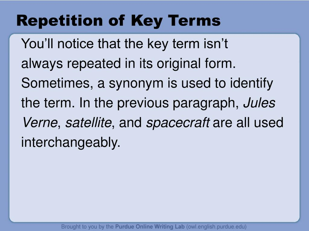 Repetition of Key Terms