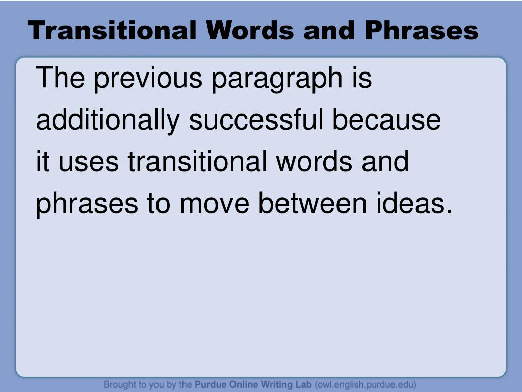 Transitional Words and Phrases