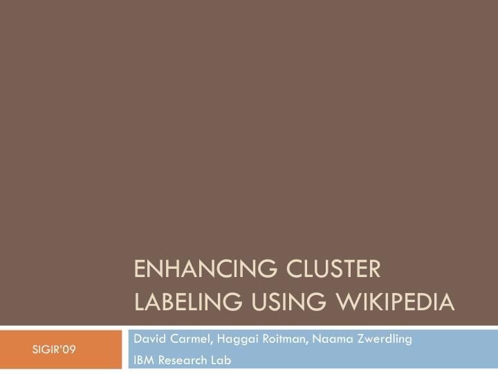 Enhancing cluster labeling using wikipedia