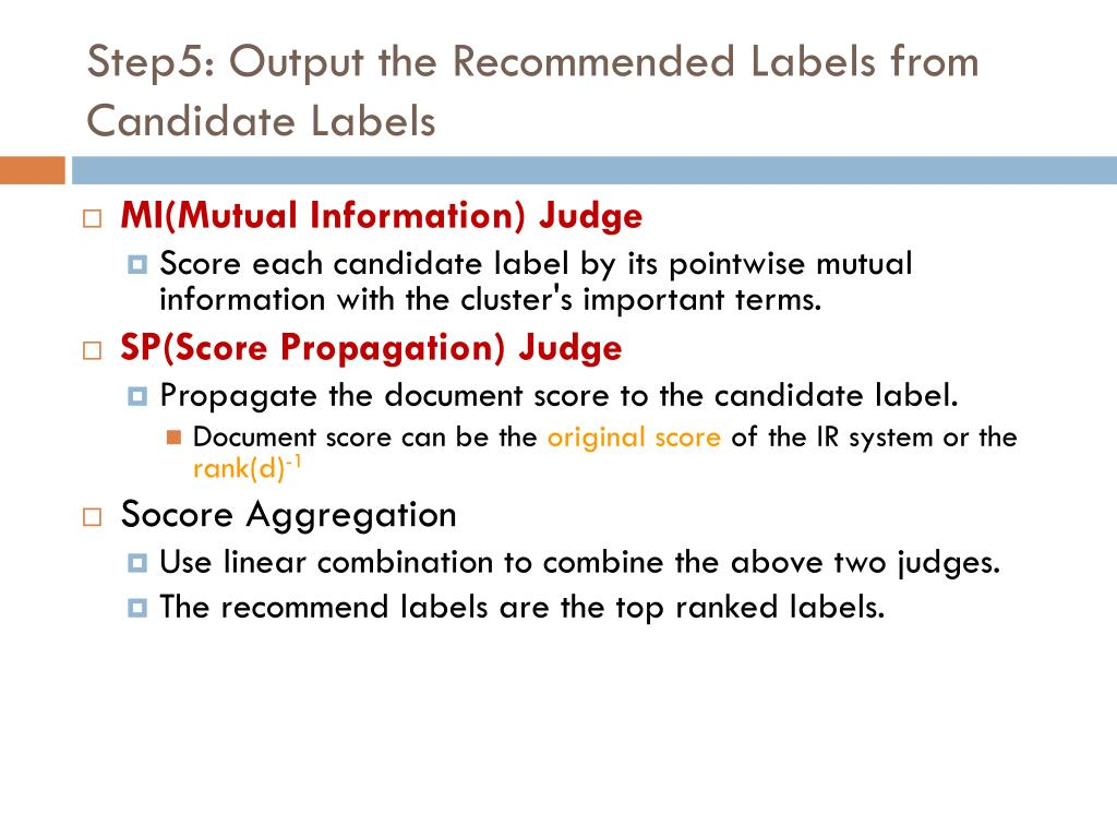 Step5: Output the Recommended Labels from Candidate Labels