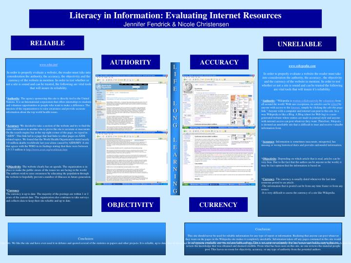 Literacy in Information: Evaluating Internet Resources