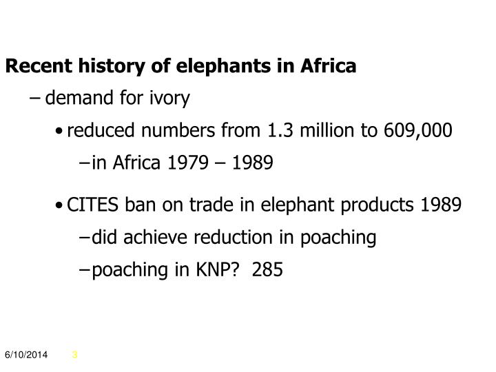 Recent history of elephants in Africa