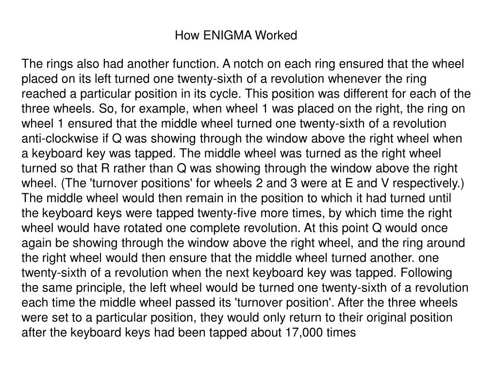 How ENIGMA Worked