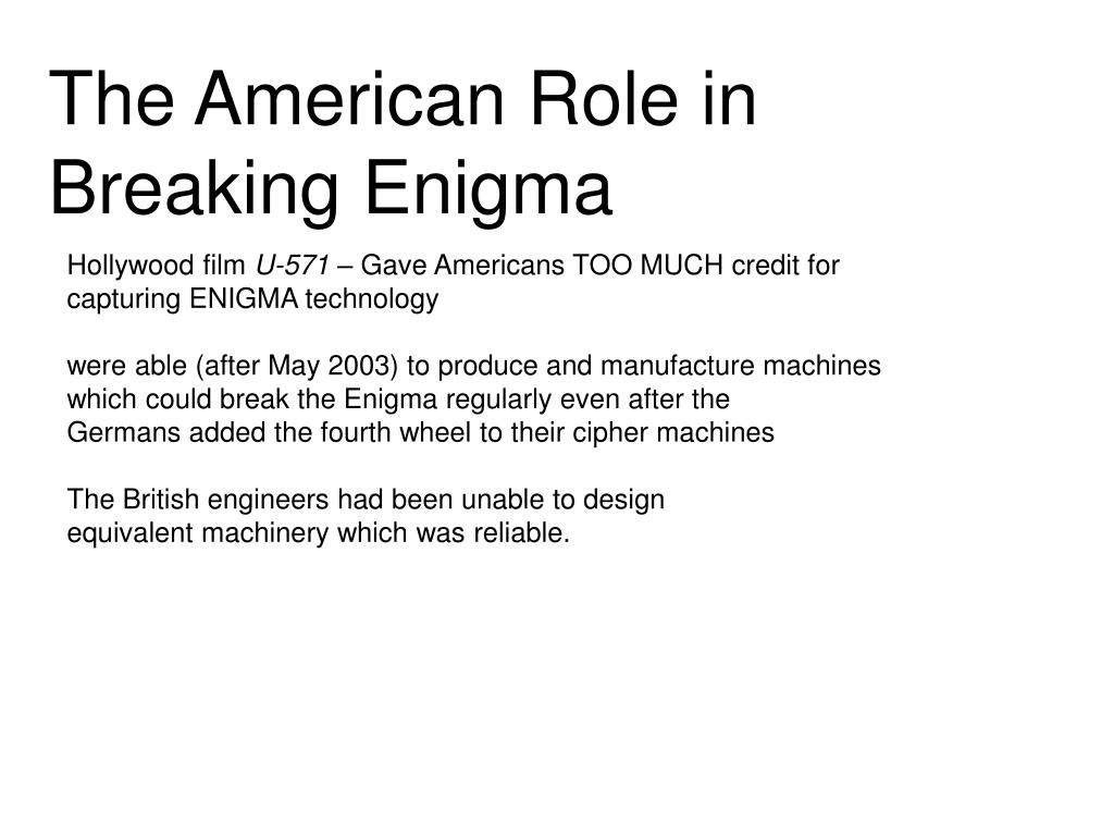 The American Role in Breaking Enigma