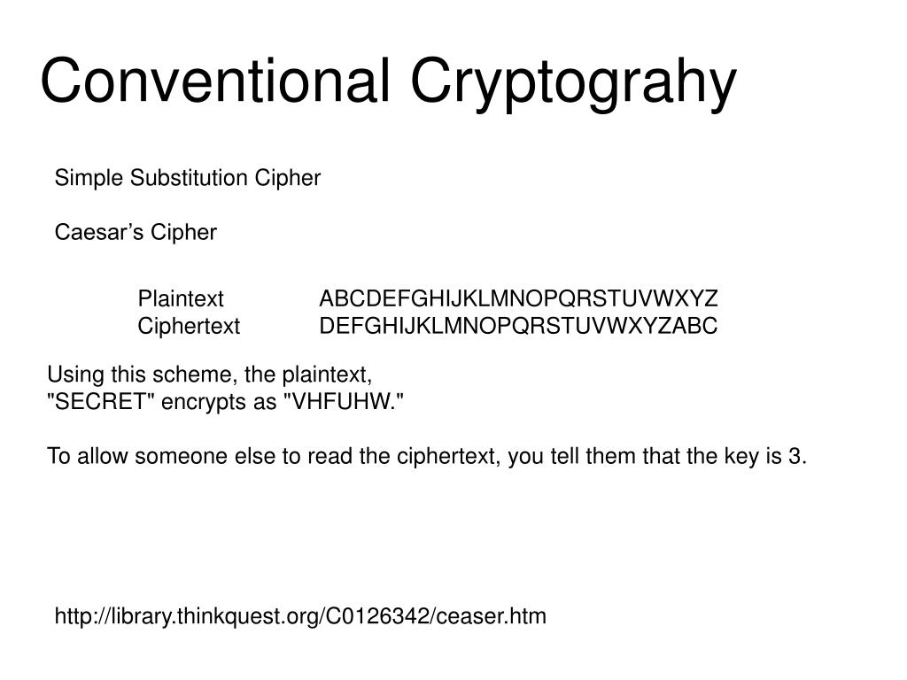 Conventional Cryptograhy