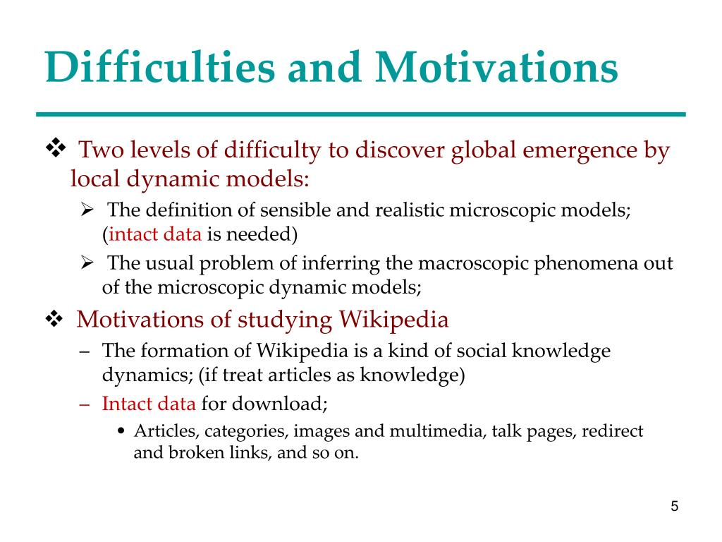 Difficulties and Motivations