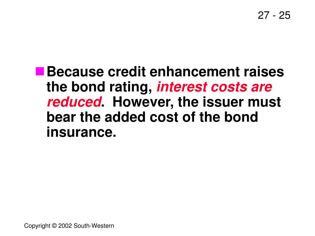 Because credit enhancement raises the bond rating,