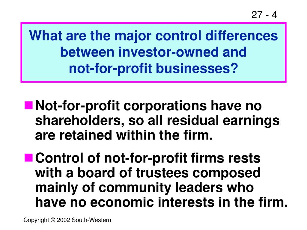 What are the major control differences between investor-owned and
