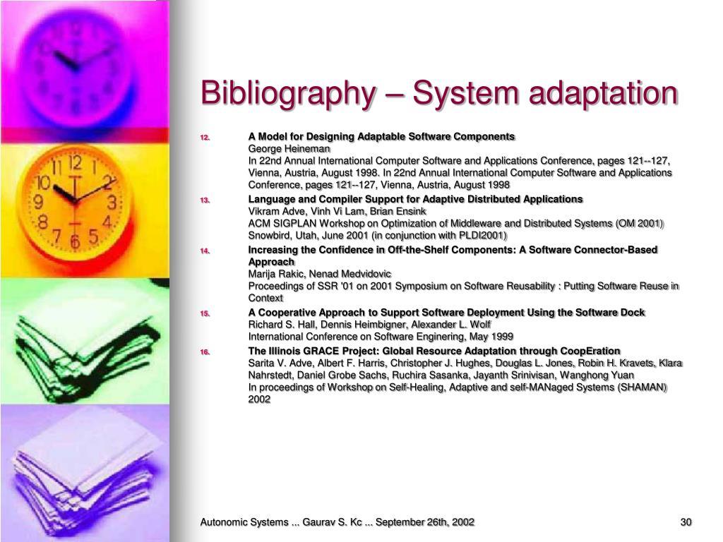 Bibliography – System adaptation