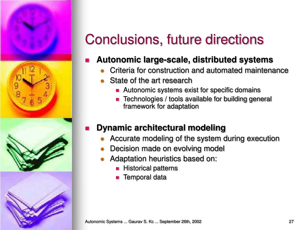 Conclusions, future directions