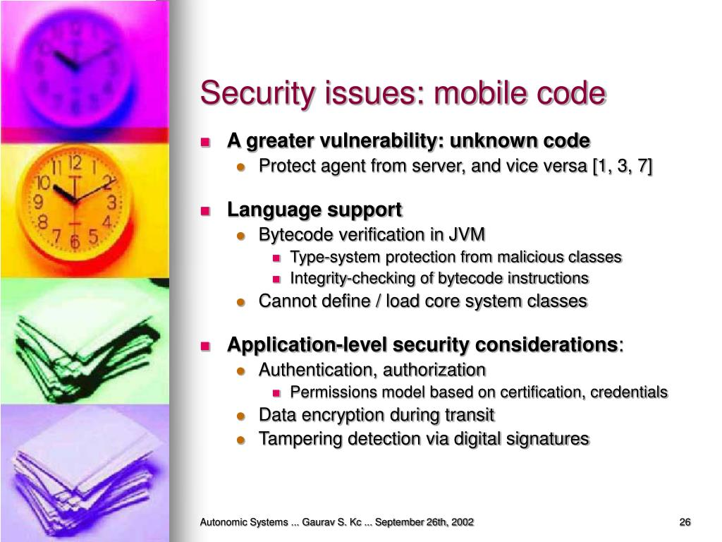 Security issues: mobile code