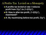 a profits tax levied on a monopoly21