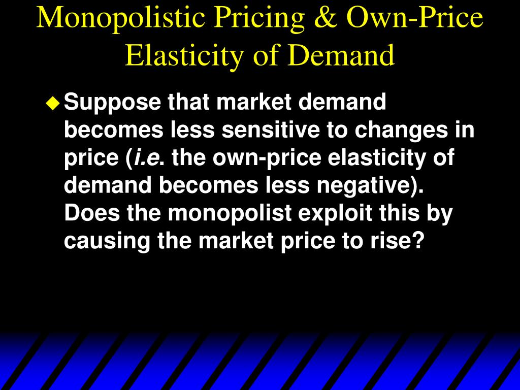 Monopolistic Pricing & Own-Price Elasticity of Demand
