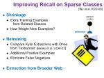improving recall on sparse classes wu et al kdd 08