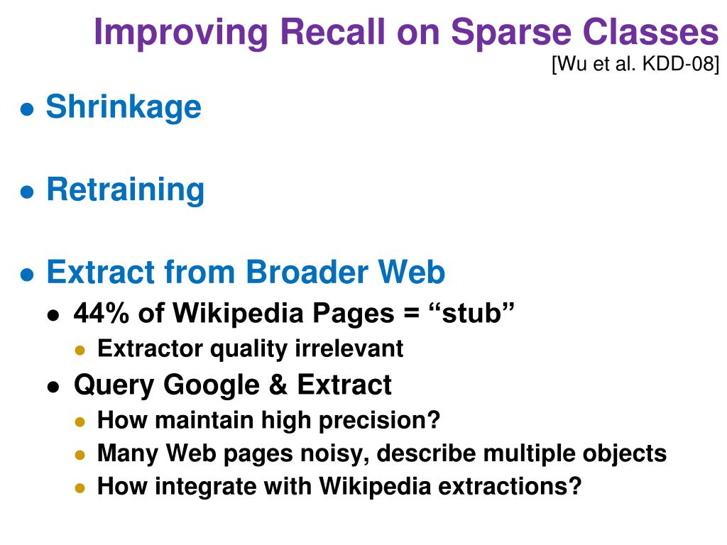 Improving Recall on Sparse Classes