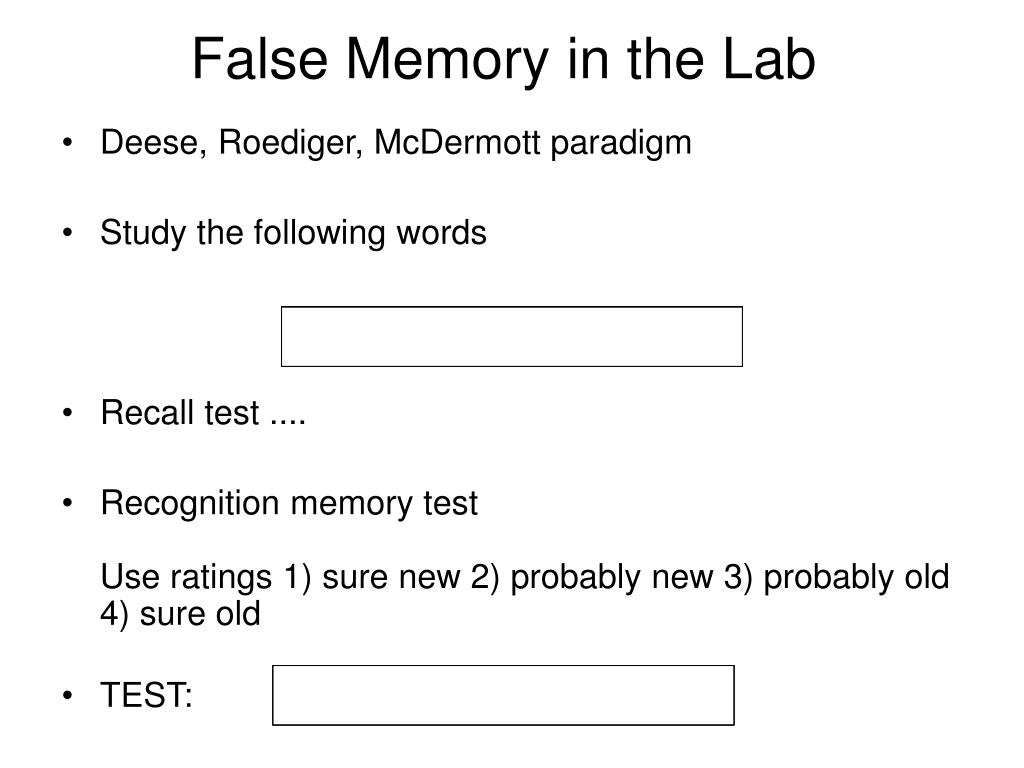 False Memory in the Lab