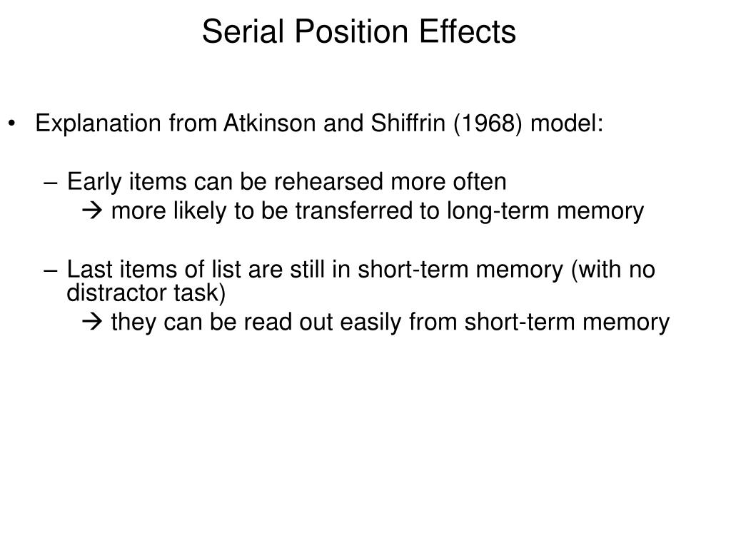 Explanation from Atkinson and Shiffrin (1968) model: