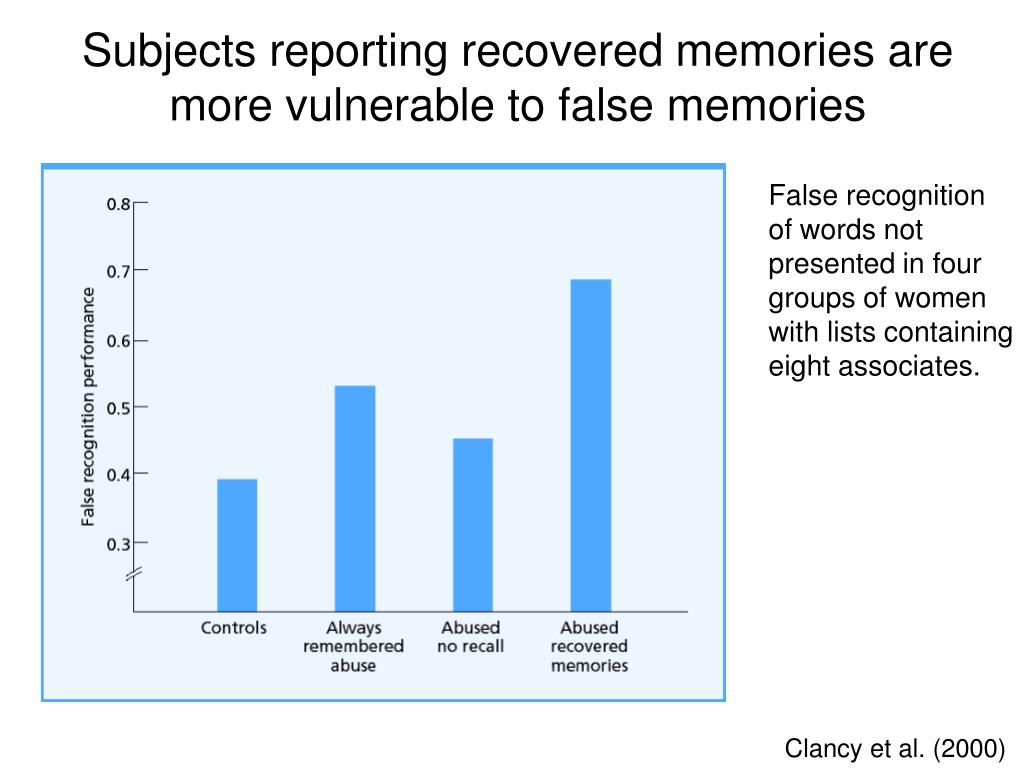 Subjects reporting recovered memories are more vulnerable to false memories