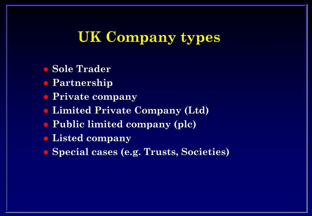 UK Company types