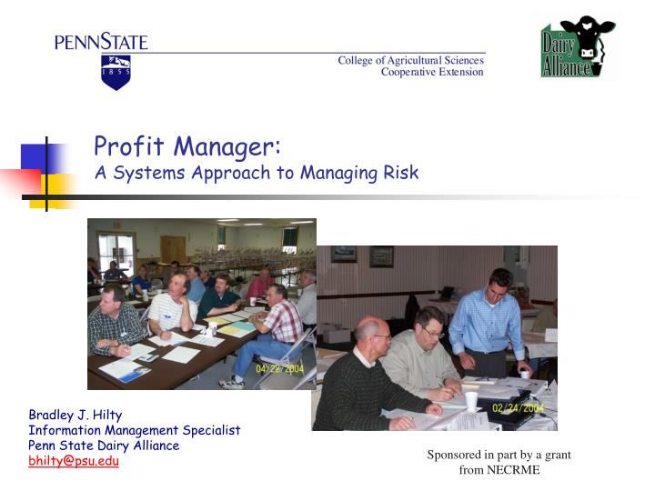 Profit manager a systems approach to managing risk
