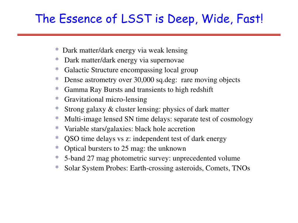 The Essence of LSST is Deep, Wide, Fast!