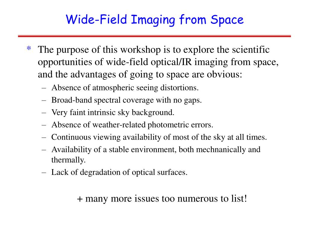 Wide-Field Imaging from Space