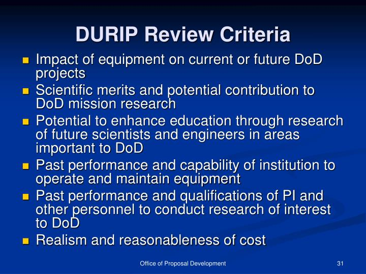 DURIP Review Criteria
