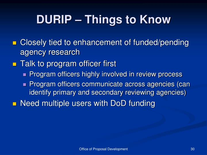 DURIP – Things to Know