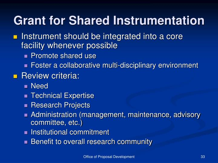 Grant for Shared Instrumentation