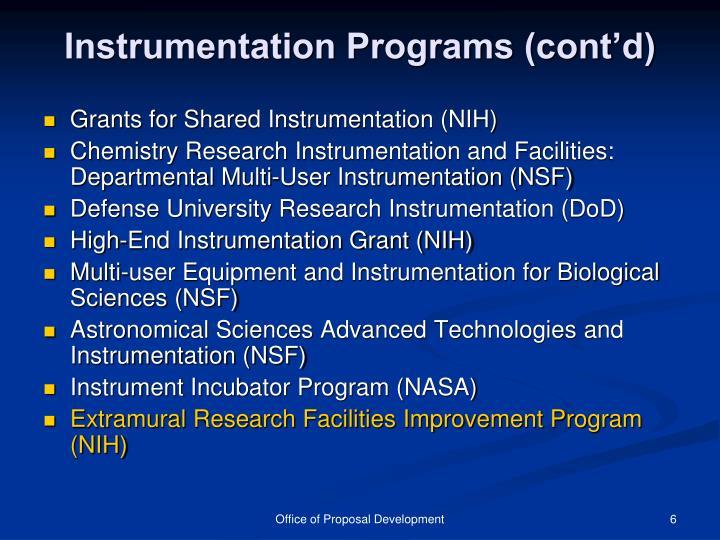 Instrumentation Programs (cont'd)