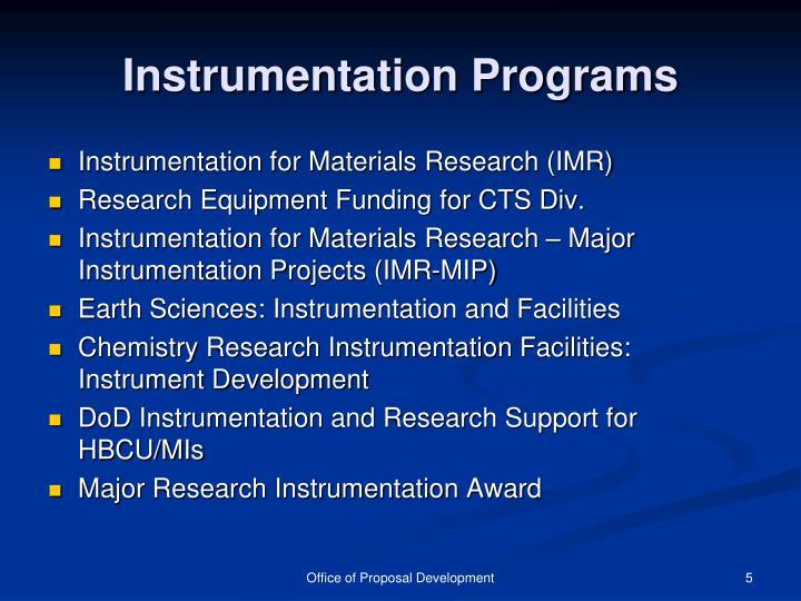 Instrumentation Programs