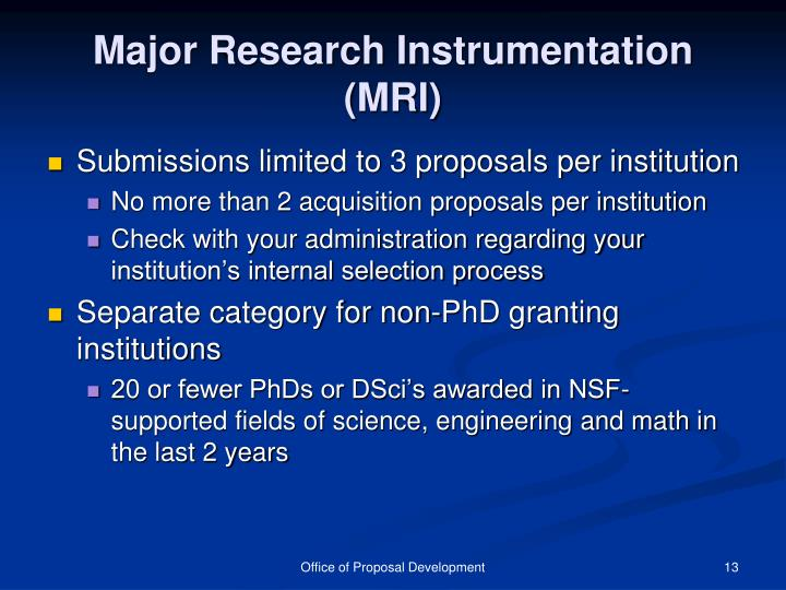 Major Research Instrumentation (MRI)