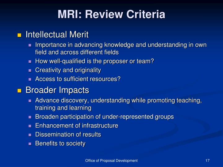 MRI: Review Criteria